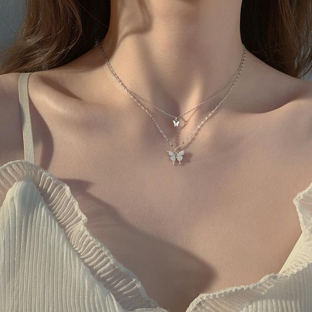 2021新款潮镶钻蝴蝶双层项链女简约设计感小众气质冷淡风锁骨链