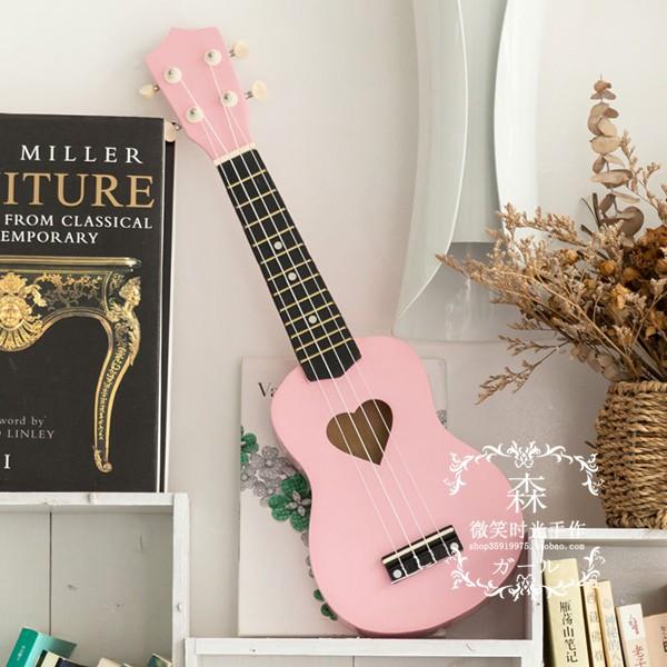 少女心尤克里里初学者樱花琴粉21寸23寸乌克里里小吉他四弦琴入门
