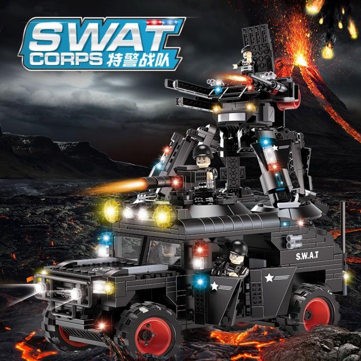 沃马积木正品小颗粒积木玩具特警战队之2合1武装悍马越野战车