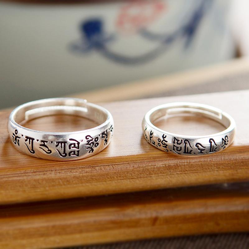 作明佛母绿度母心咒纯银戒指男女情侣护身指环开口可调节原创饰品