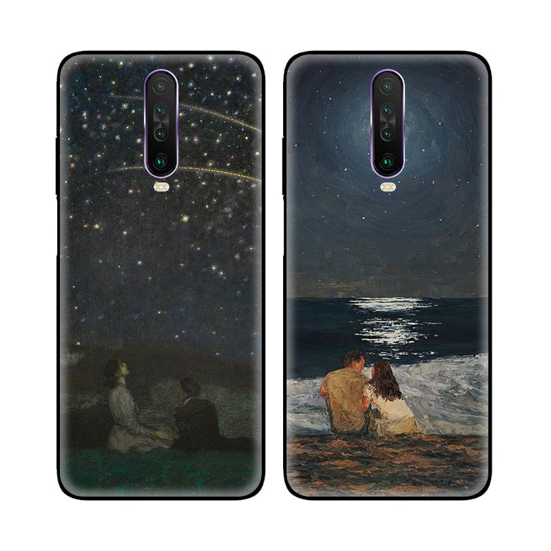 欧美复古油画星辰大海情侣适用小米红米K30磨砂5G手机壳软保护套
