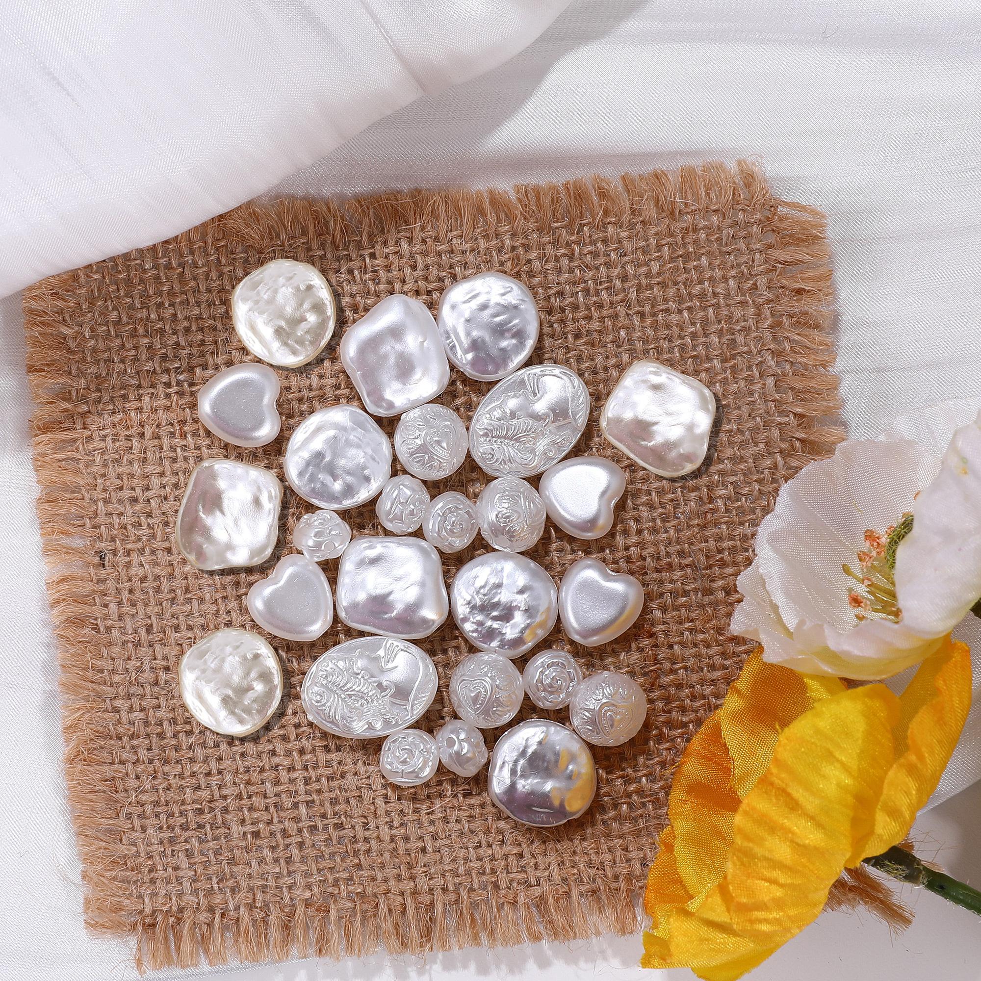 10个亚克力仿皱纹珍珠圆形美人头像爱心串珠DIY手工饰品配件材料