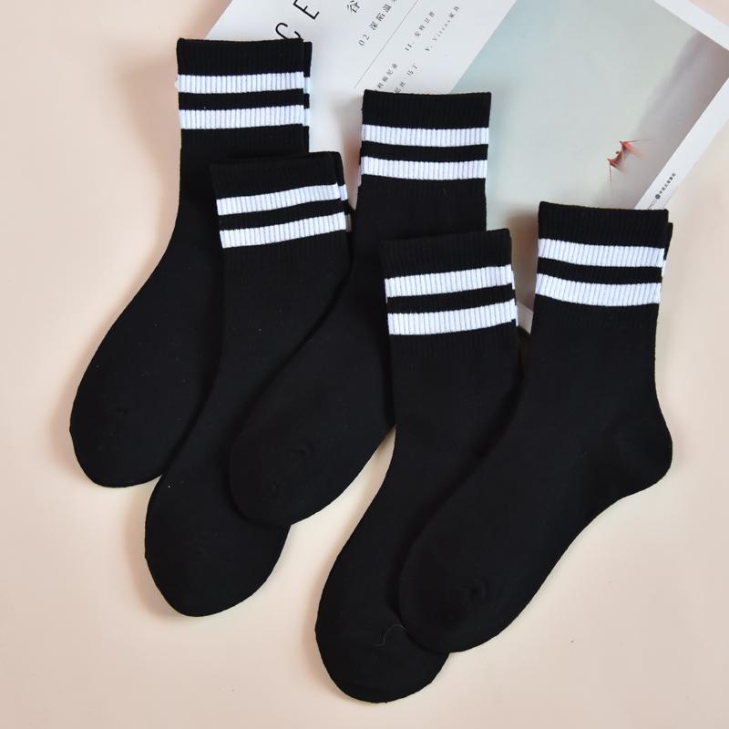 袜子女黑色中筒袜纯棉韩版学院风日系女袜二杠学生可爱百搭秋冬潮