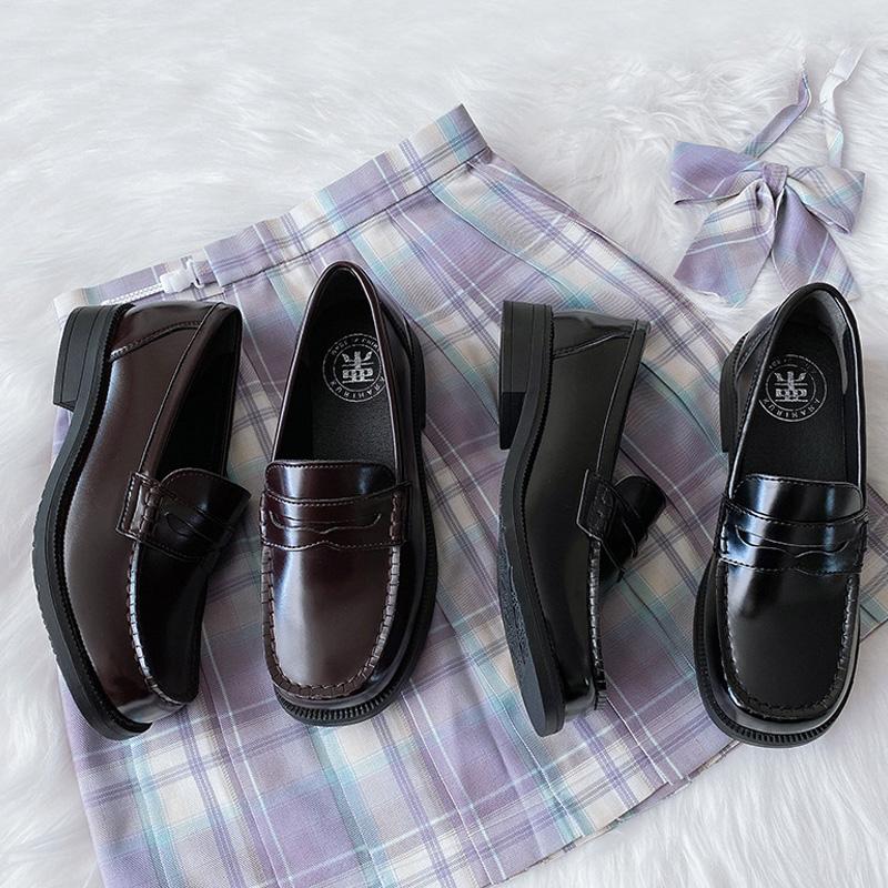 栗原熊 小方熊现货 圆方头jk制服鞋高跟/低跟学院风熊爪小皮鞋