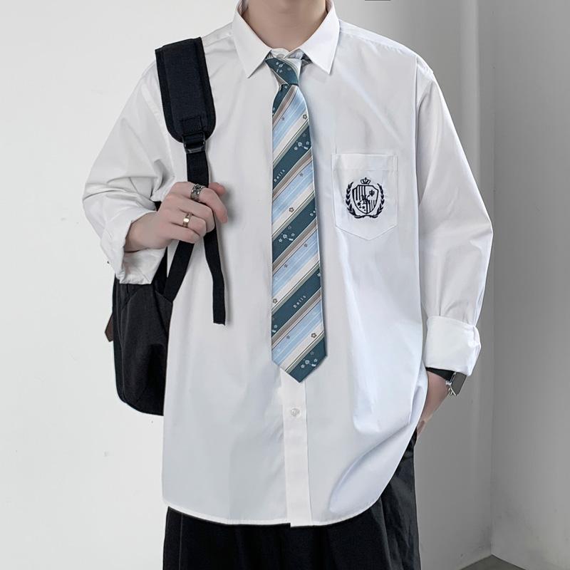 dk衬衫男长袖制服全套学生领带衬衫男生纯白学院风日系原创jk套装