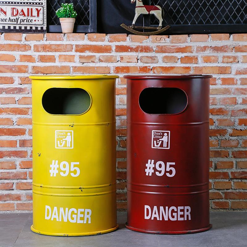 工业风loft铁艺油桶复古美式垃圾桶大号做旧酒网吧咖啡屋创意分类
