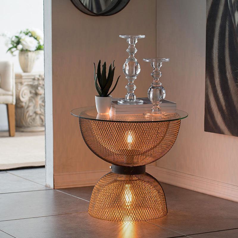 收获小屋现代轻奢创意铁艺复古玻璃小茶几边几夜灯角几咖啡桌客厅
