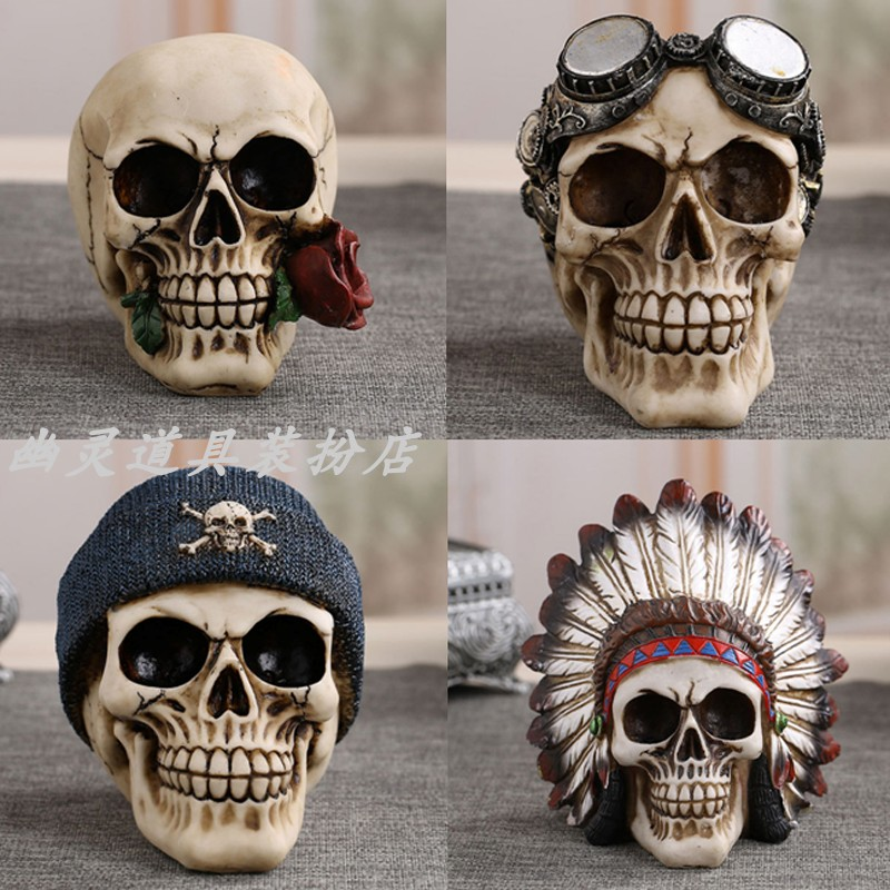 仿真骷髅头树脂复古创意酒吧咖啡屋纹身店装饰品骷颅摆件头骨模型