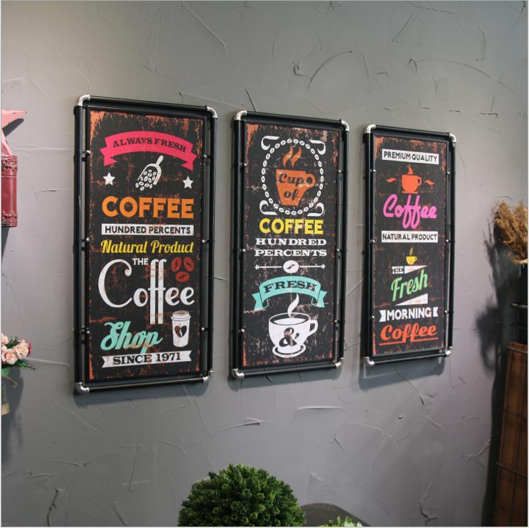 复古工业风餐厅酒吧咖啡厅墙面装饰啤酒屋墙壁铁艺水管木板画挂件