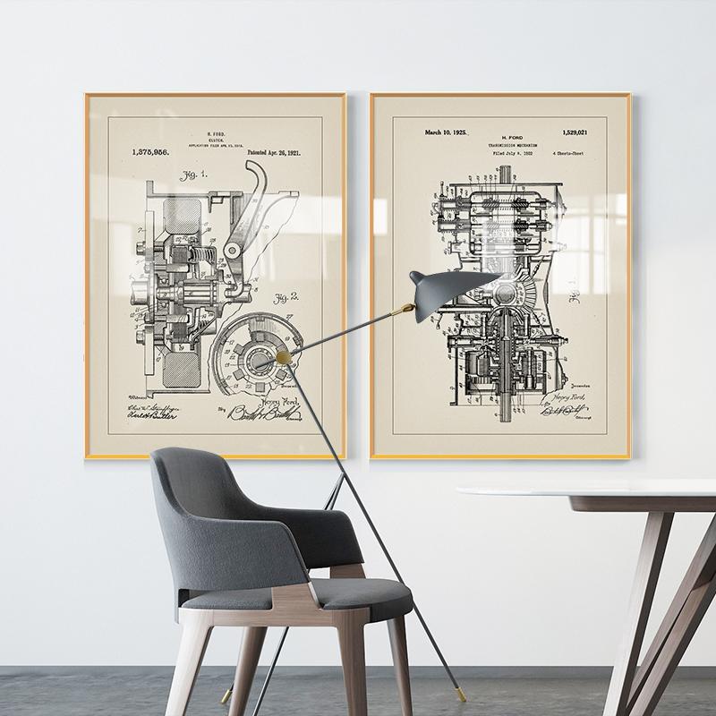 福特汽车图纸办公室复古工业风装饰画书房设计师工作室咖啡屋壁画