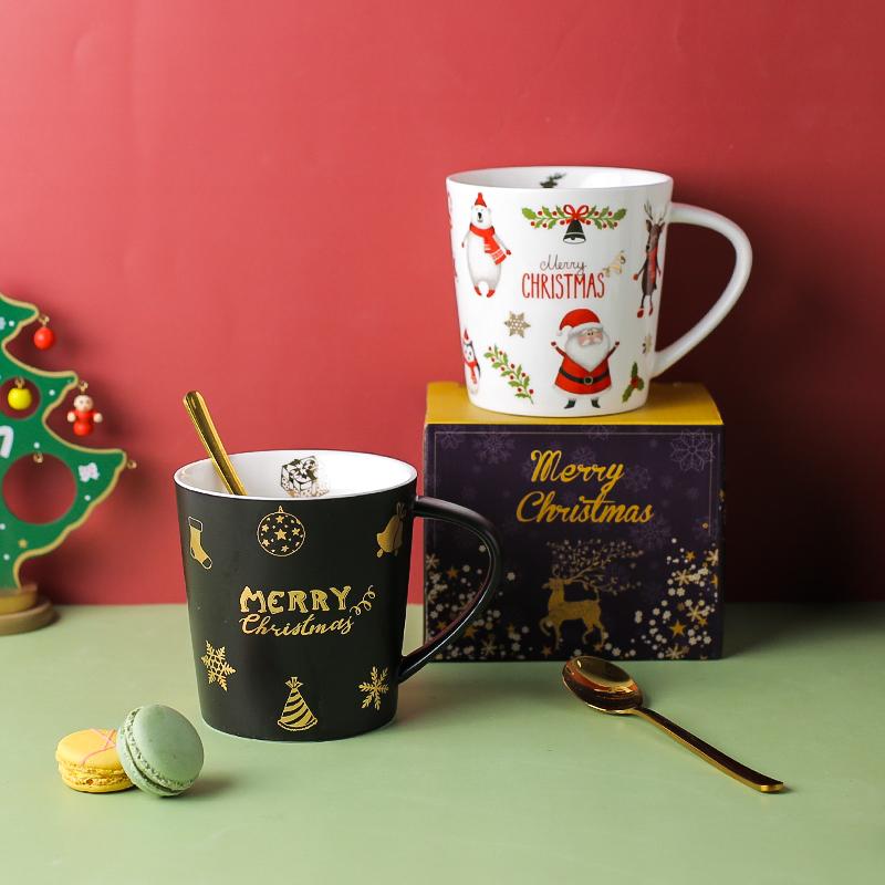 川岛屋圣诞节杯子马克杯礼品礼物圣诞老人水杯陶瓷创意家用咖啡杯