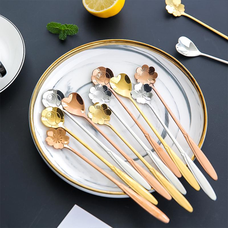 川岛屋创意可爱樱花勺花瓣咖啡勺长柄搅拌勺韩式甜品不锈钢小勺子