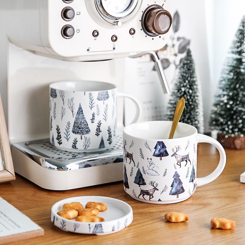 川岛屋马克杯带盖陶瓷圣诞杯子创意个性潮流水杯家用大容量咖啡杯