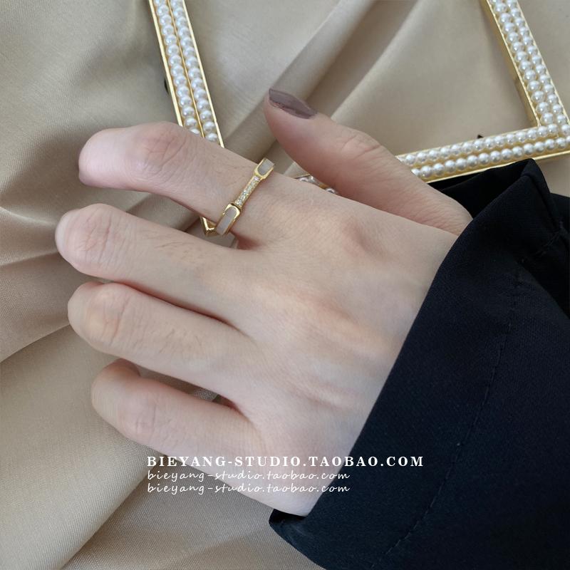 别样E431轻奢日系高级感精致镶钻细圈贝母面ins时尚气质百搭戒指