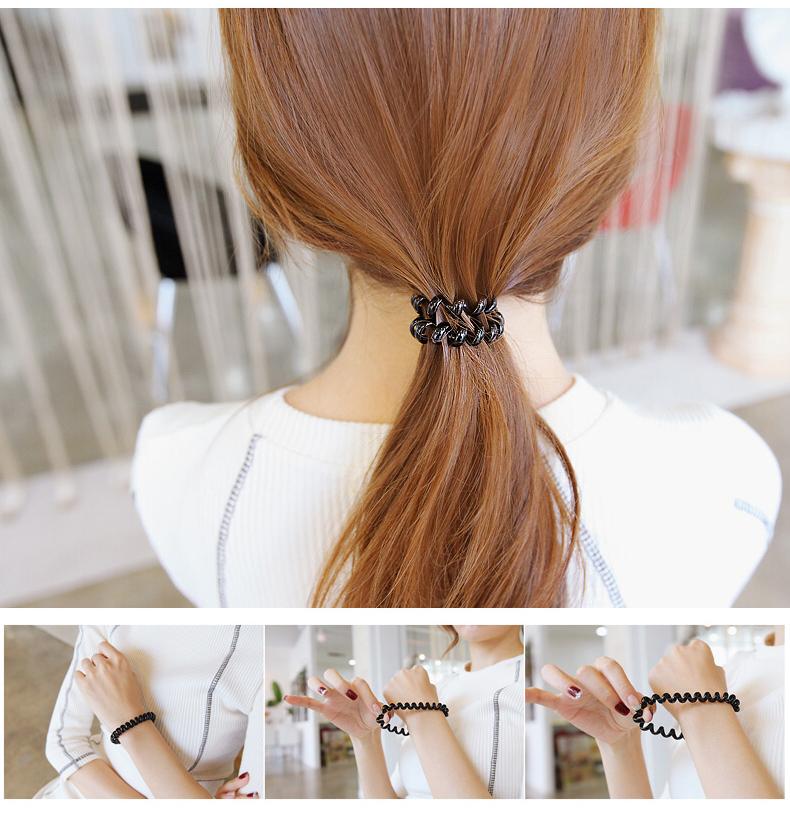 韩版电话线发圈电话圈头绳发绳头饰发饰黑色大号加粗成人清新个性