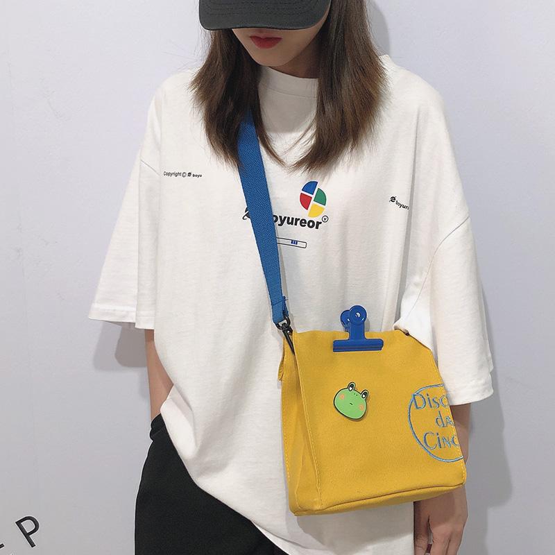韩国ins可爱古着感斜挎包日系港风原宿少女chic软妹单肩包帆布包