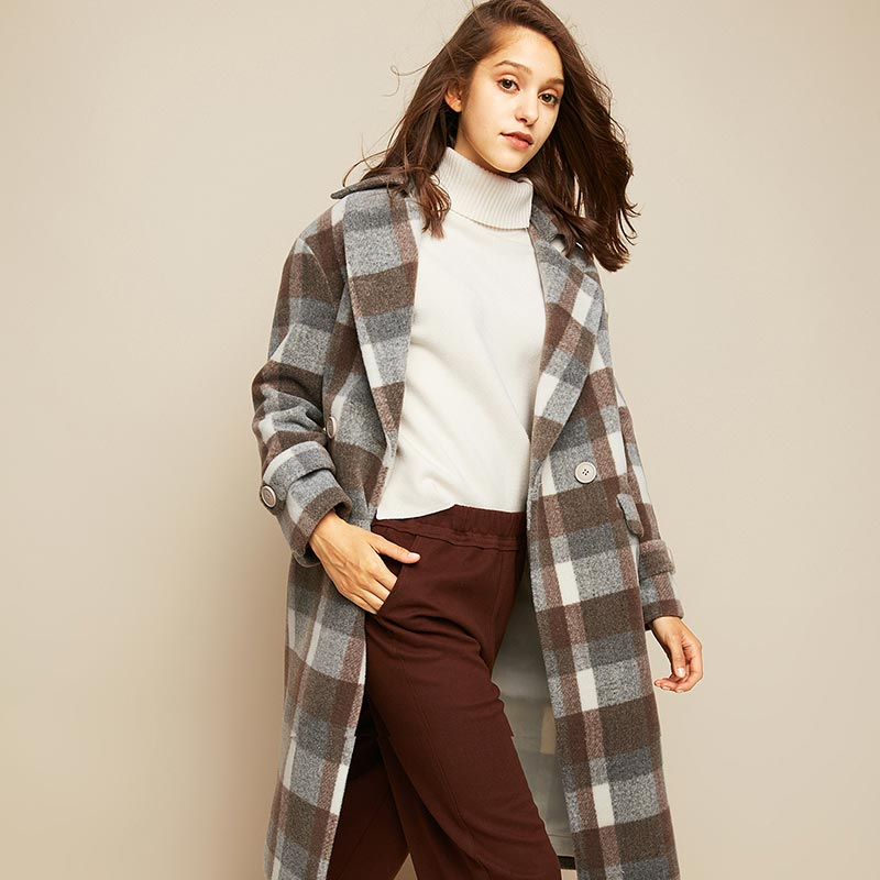 CacheCache2018秋冬新款法式复古气质格子中长款毛呢大衣外套女