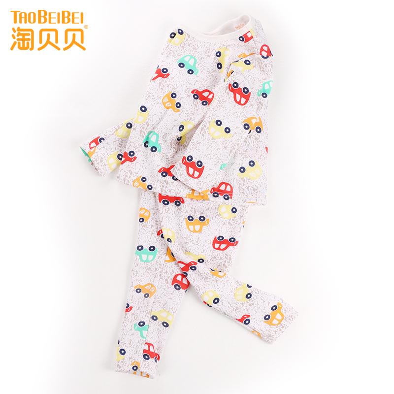 淘贝贝秋季新款儿童睡衣男童牛奶丝家居服印花套装加绒保暖内衣