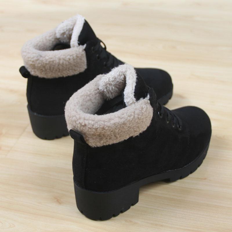 冬季人本加绒保暖雪地靴女韩版休闲短靴女平跟马丁靴女学生棉鞋女