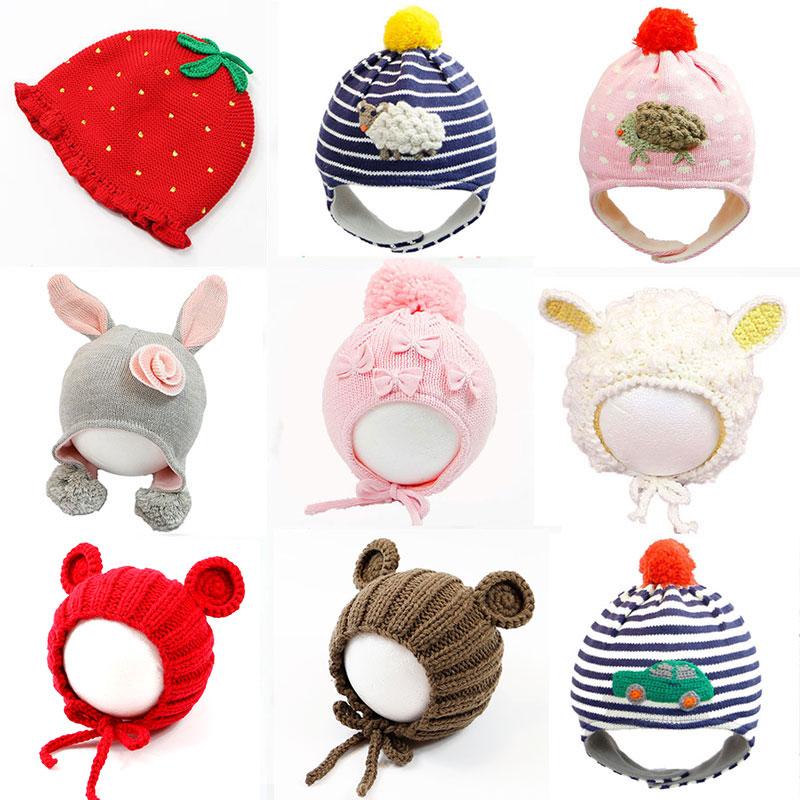 儿童帽女冬新生儿帽婴儿帽子宝宝毛线帽防风保暖护耳套头帽潮童帽