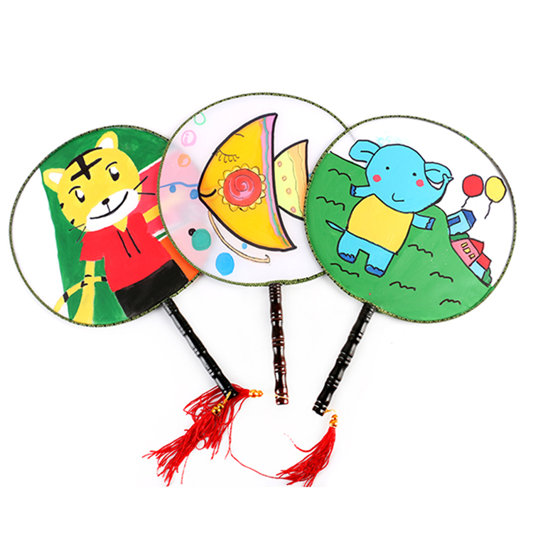 涂鸦批 画 扇手绘小白扇子儿童画 材料包手工制作绘画