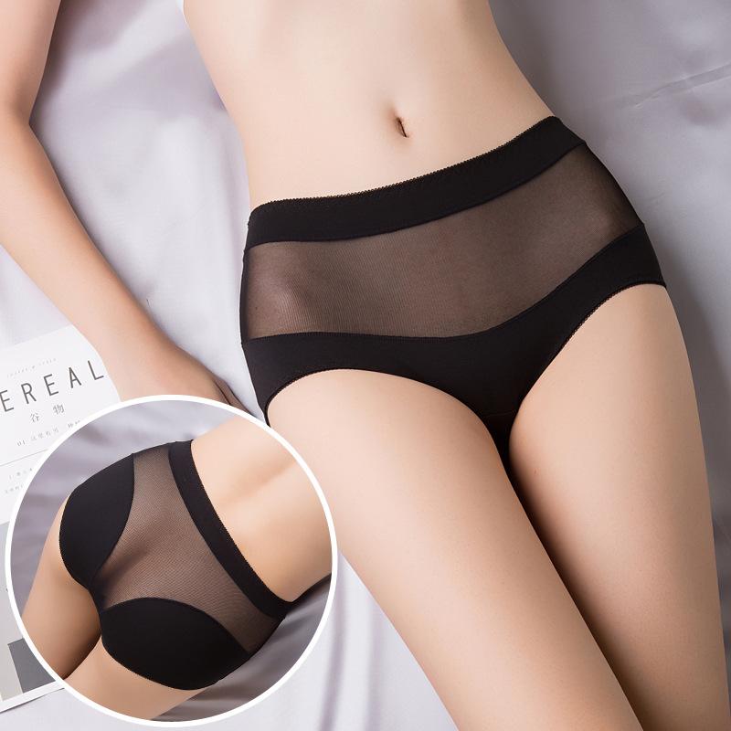 【3条装】高腰女式内裤 纯棉透气性感镂空纯色时尚三角裤女士内裤