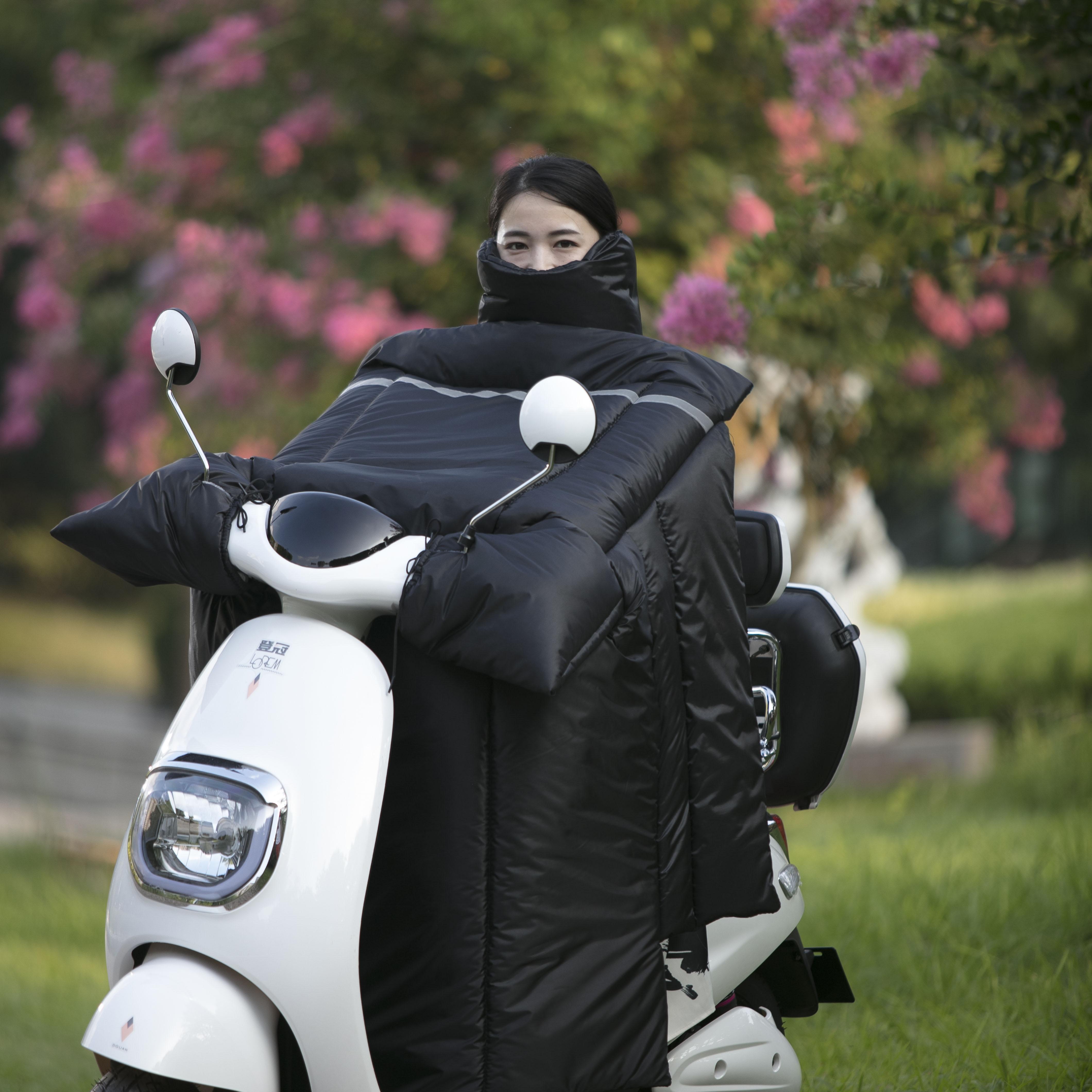 电动摩托车挡风被冬季加绒加厚加大防水保暖电瓶车护膝踏板挡风罩