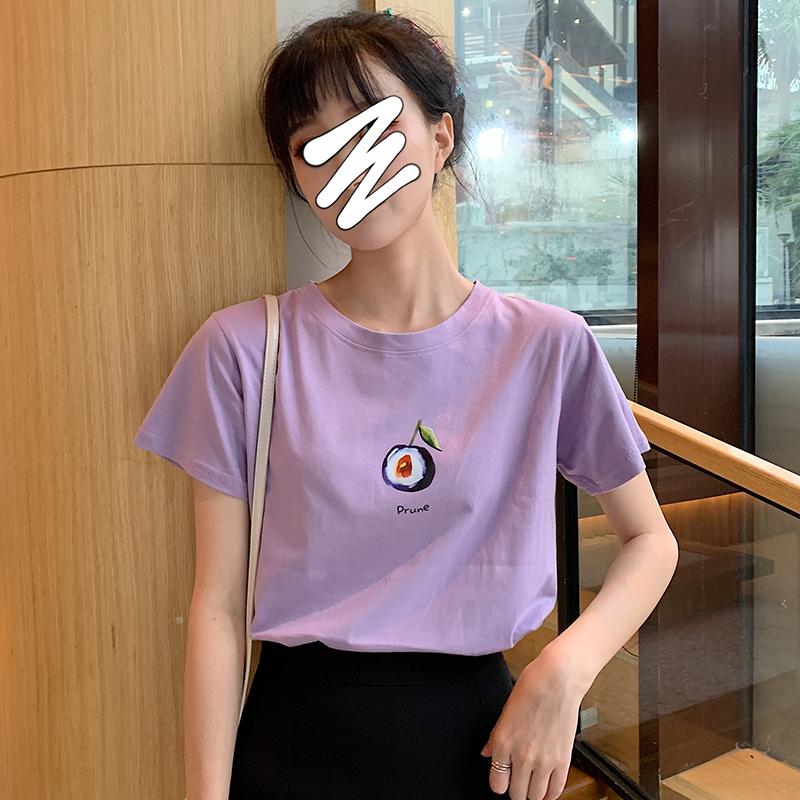网红牛油果绿短袖T恤女2019夏新款纯棉学生宽松韩版百搭水果体恤