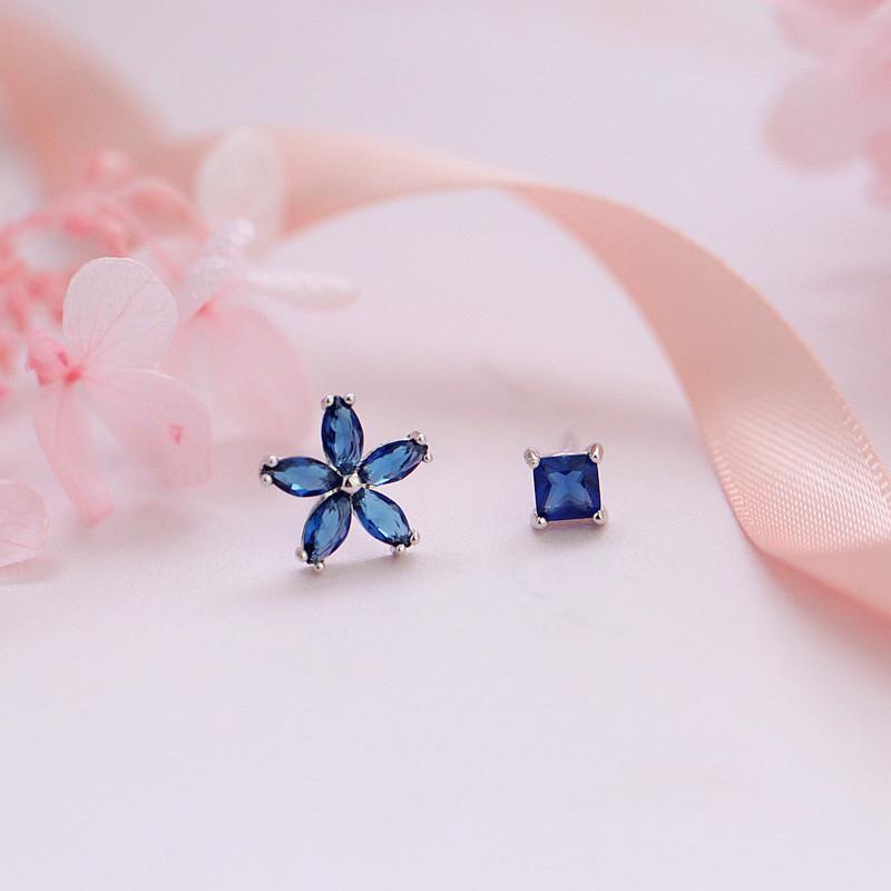 小Z优品 清新宝蓝色花朵方块S925纯银耳钉不对称耳环耳饰礼物闺蜜