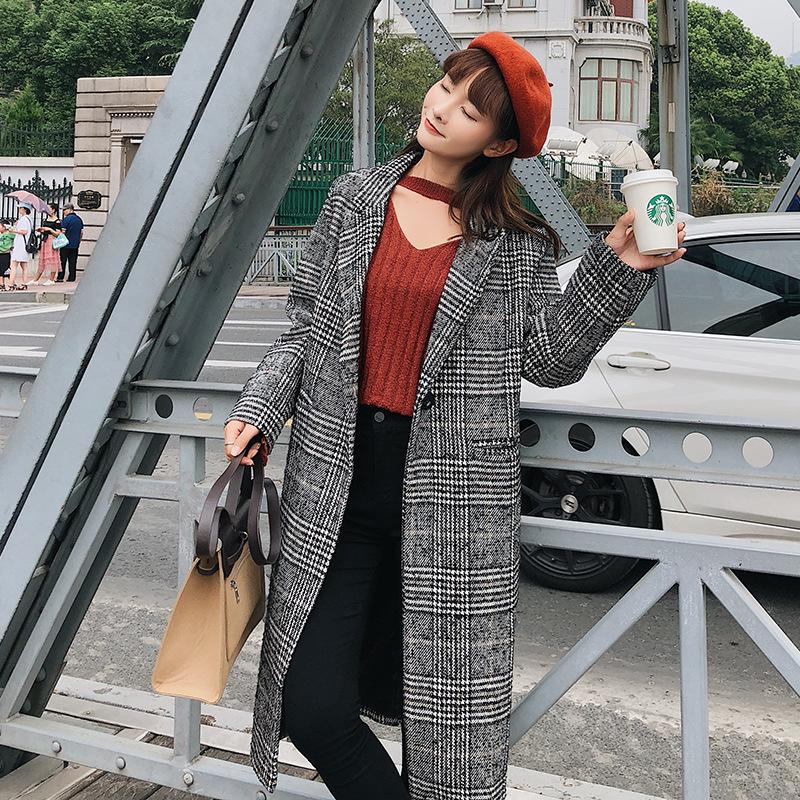 新款上市流行2018秋冬季新款女装加厚长款格子外套宽松显瘦大衣女