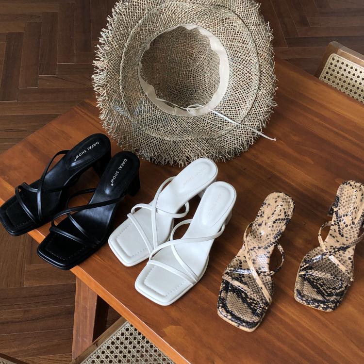 dapaishow 夏季新款韩版温柔百搭凉鞋女气质方头仙女风高跟凉拖鞋