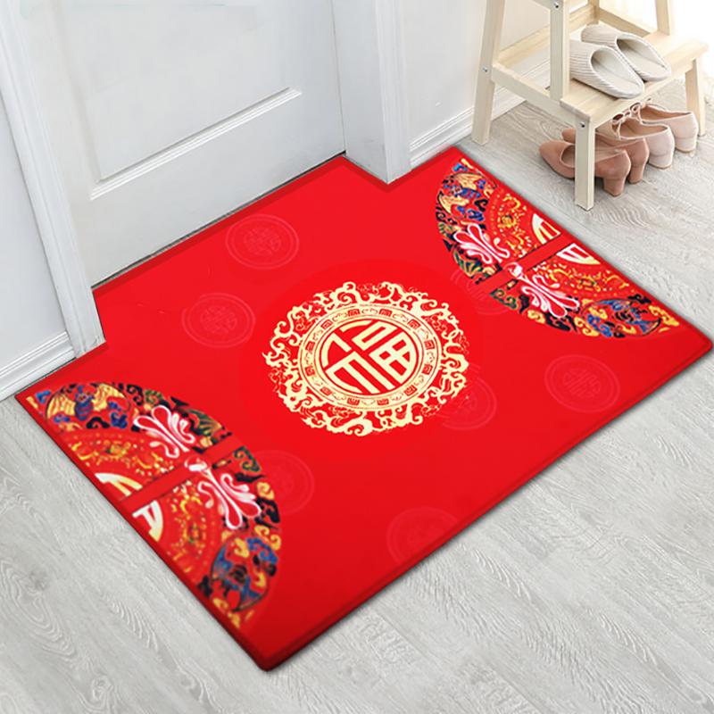 喜庆门垫进门地垫现代中式入户大红色喜福字出入平安吸水脚垫地毯图片