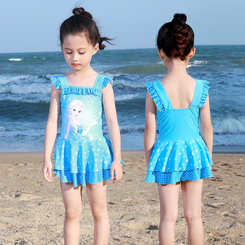 迪士尼冰雪奇缘 儿童泳衣女童女孩中大童连体裙式公主可爱游泳装