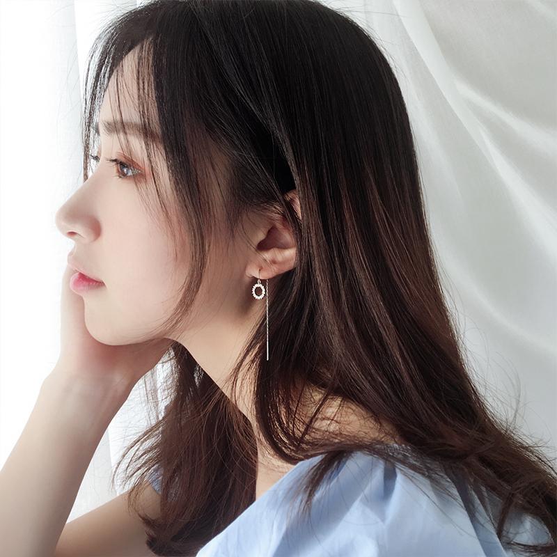 银春春纯银圆形耳线女设计感耳环气质小众韩国显脸瘦个性网红百搭