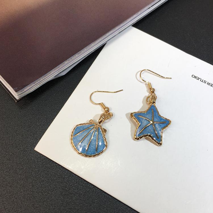 韩国度假复古海星贝壳耳环 五角星短款气质珍珠海洋风耳钉 女学生