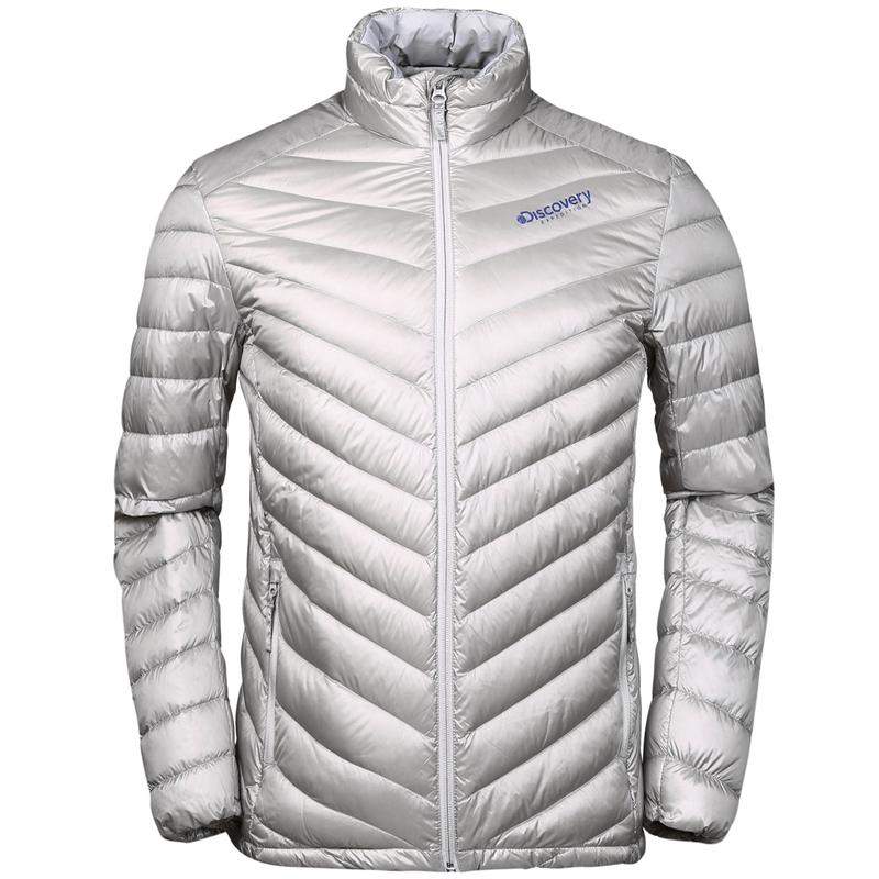 Discovery户外冬季情侣超轻薄保暖鸭绒羽绒服女短款滑雪羽绒衣男