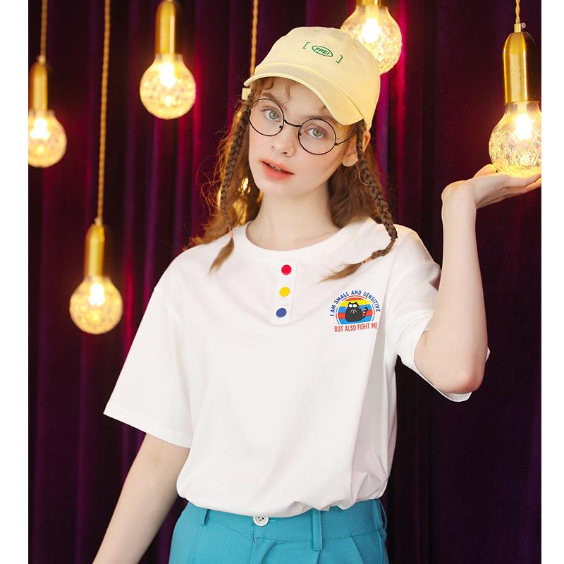 2021新款夏季宽松白色短袖t恤设计感小众半袖少女感上衣女薄款t桖