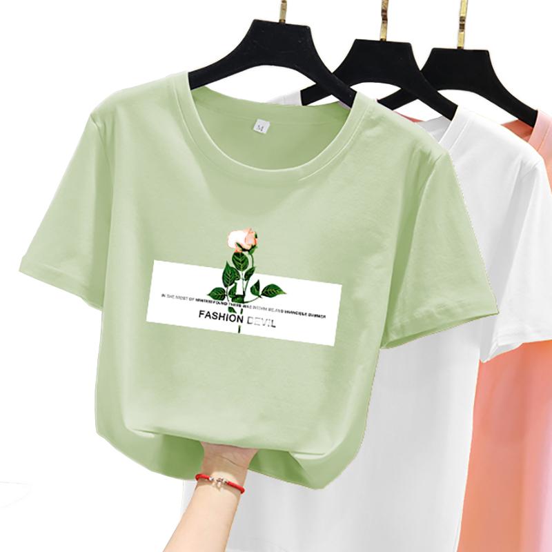 短袖t恤女2020年春夏装新款韩版宽松ins潮学生牛油果绿早春上衣服