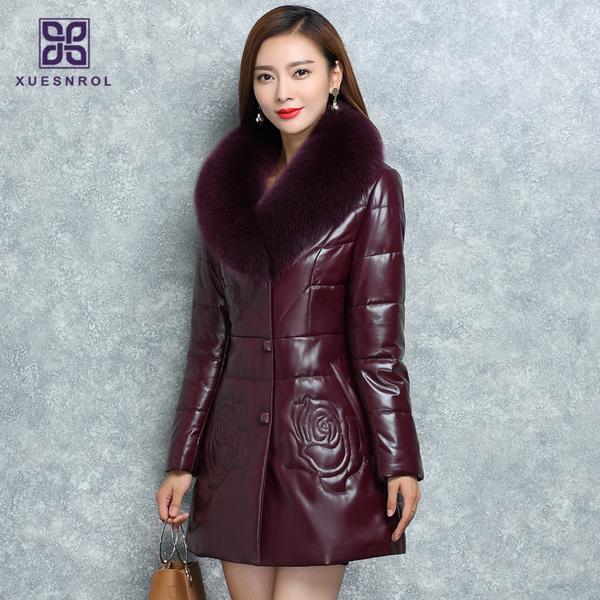 2018冬季新款女绵羊皮狐狸毛领皮草外套海宁真皮羽绒服中长款皮衣