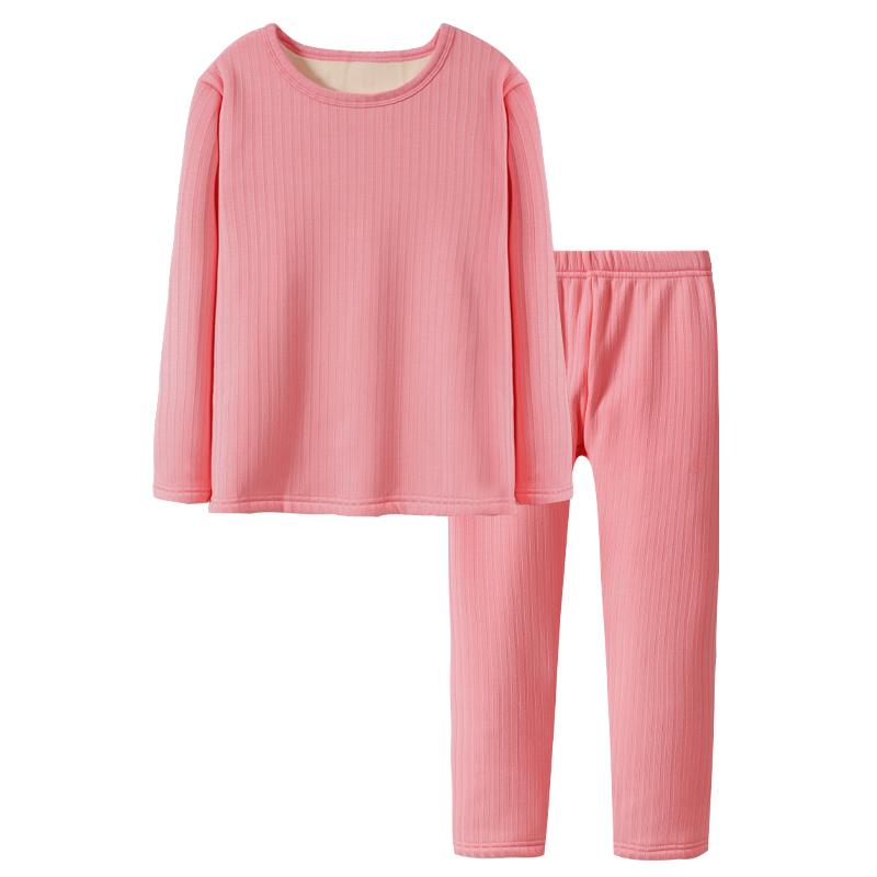 南极人儿童秋冬季保暖内衣套装一体绒加绒加厚打底衫保暖裤男女童