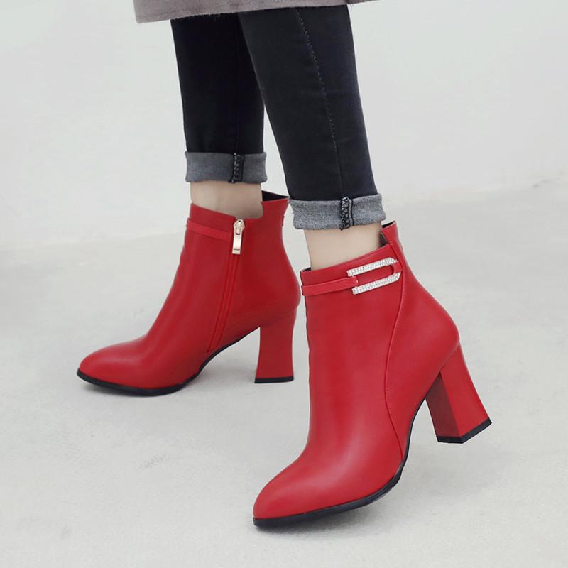 靴子女粗跟短靴2018秋冬新款单靴尖头高跟短筒马丁靴裸靴红色婚鞋
