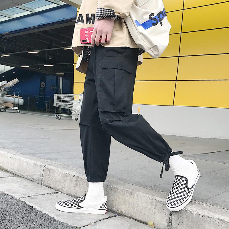 工装裤男潮牌束脚hiphop宽松复古港风chic裤子百搭ins超火的裤子