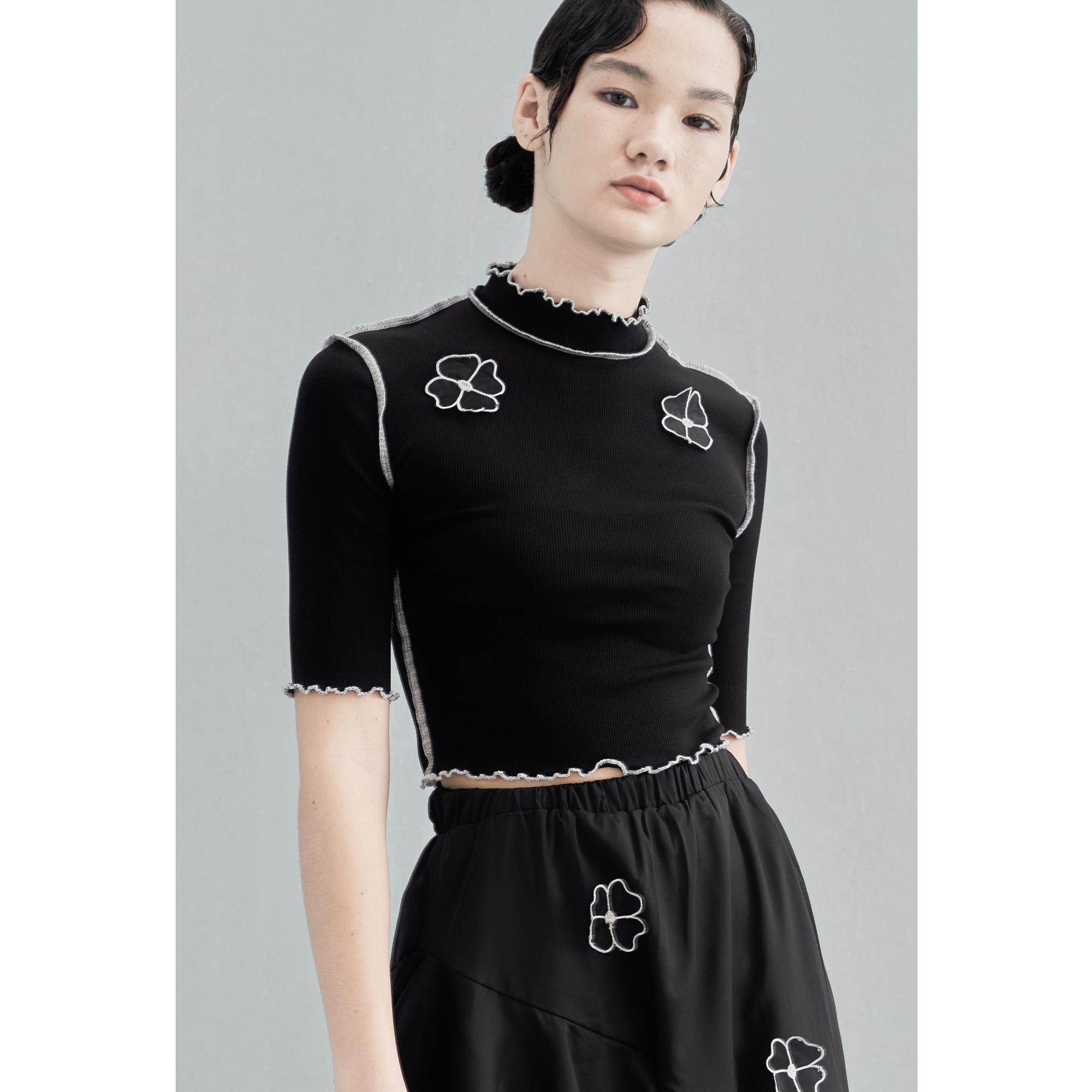 AnnoMundi原创设计短袖t恤女春夏季黑色薄款修身显瘦女装短款上衣