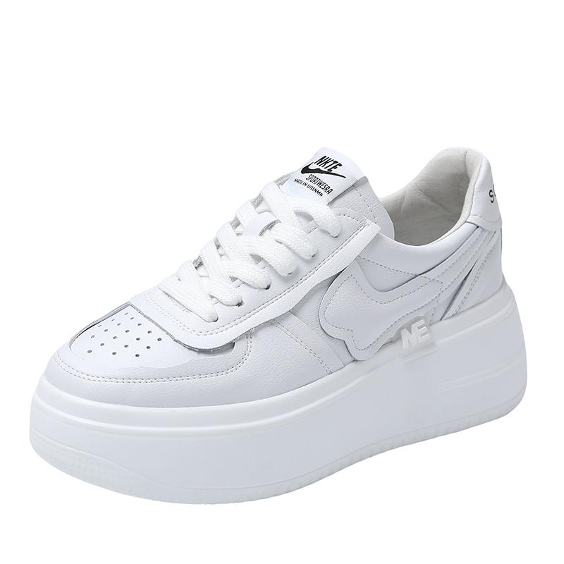 欧洲站女鞋2021夏季新款白色真皮百搭厚底休闲运动鞋增高小白鞋女