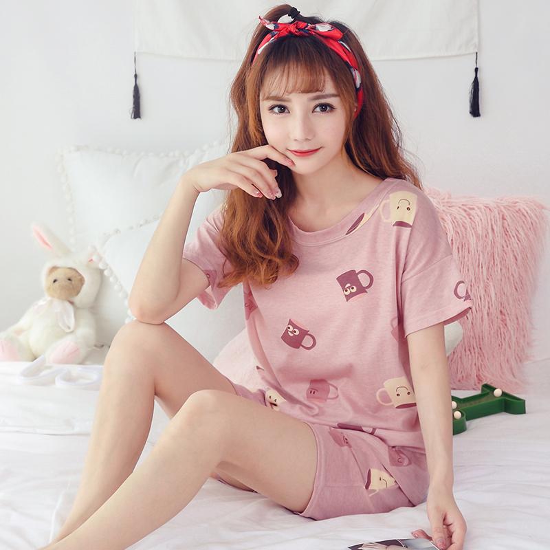 韩版睡衣女秋短袖两件套装宽松秋可爱家居服夏款可外穿套装