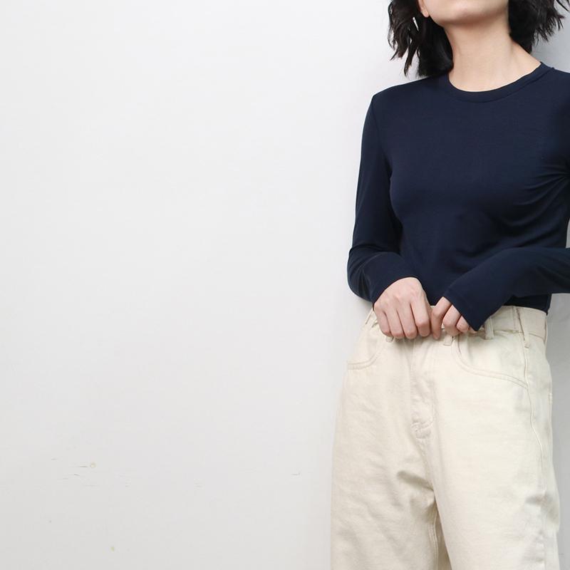莫代尔小圆领短袖T恤紧身上衣修身黑色打底衫女秋冬长袖内搭秋装