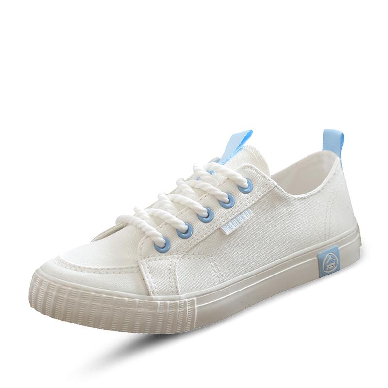 人本帆布鞋女学生韩版平底小白鞋女原宿百搭白色板鞋ulzzang女鞋