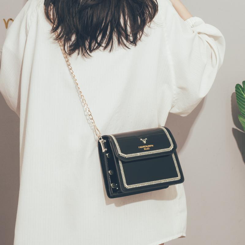 法国小众包包女2020新款韩版百搭斜挎包高级感漆皮洋气链条小方包
