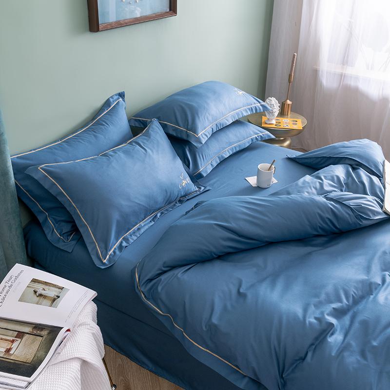 韩版纯棉绣花四件套全棉纯色秋冬床上用品双人床单被套1.5/1.8m