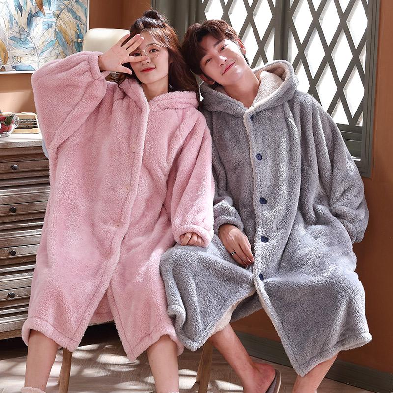 情侣珊瑚绒睡袍女冬季法兰绒浴袍加绒加厚加长款男士睡衣秋冬款